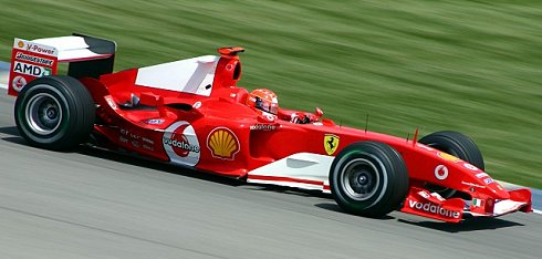 Michael Schumacher driving the Ferrari F2004 at Indianapolis