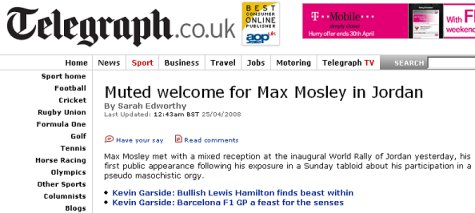 The Telegraph: Muted welcome for Max Mosley in Jordan