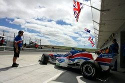Team GBR car leaves the pits at Taupo