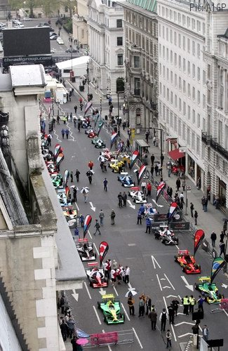 Aerial photo of A1GP cars on Regent Street