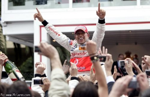 Lewis Hamilton celebrates his Monaco victory