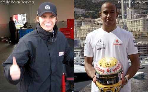 Dan Wheldon and Lewis Hamilton