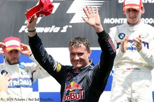 David Coulthard on the podium in Canada