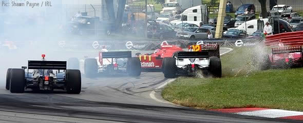 The race is wrecked for Wilson and Wheldon