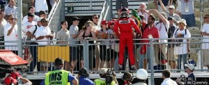 Dancing in the air: Castroneves celebrates with fans