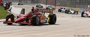 Justin Wilson racing in the Detroit Indy Grand Prix