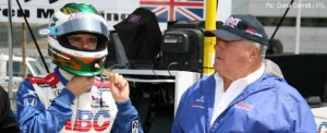 Manning and Foyt discuss strategy during a practice session