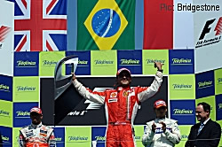 Felipe Massa on the top step at Valencia
