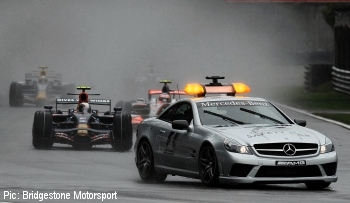 The race started behind the safety car