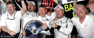 The Brawn GP team and Richard Branson celebrate their 1-2