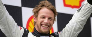 Jenson Button on the podium for Honda in Hungary