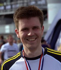 Scott McCarthy at the end of the Adidas Silverstone half marathon