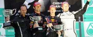 Christian Horner, Mark Webber, Sebastian Vettel and Jenson Button on the podium at Shanghai