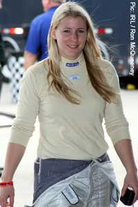 Pippa Mann at the Homestead Miami test, where she was the fastest of all the rookies