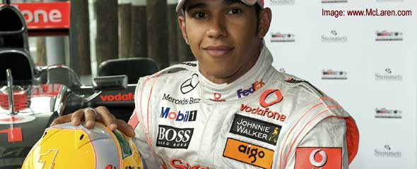 Lewis Hamilton with his diamond-topped helmet