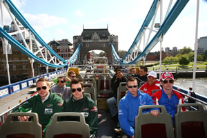 A1GP drivers, including the Irish and British at the front, tour the sights of London