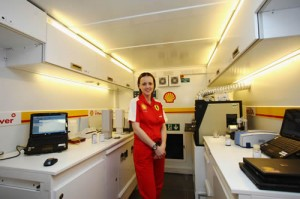 Technology manager Lisa Lilley in the Shell Track Lab (pic: Shell)