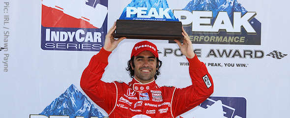 Dario Franchitti celebrates winning pole at Richmond