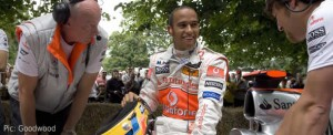 Lewis Hamilton among Goodwood's hay bales