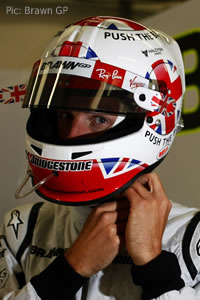 Jenson Button with his British Grand Prix helmet