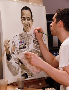 Lewis Hamilton's portrait in engine oil