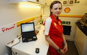 Lisa Lilley in the Track Lab during the 2009 Australian Grand Prix