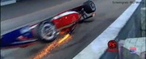Sparks fly from Pippa Mann's car. Screengrab: IRL / Versus