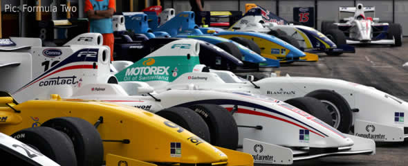 F2 cars in the pits after the day's racing is done