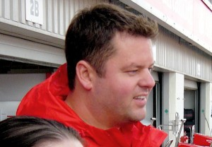 Stuart outside the Ferrari garage at Silverstone
