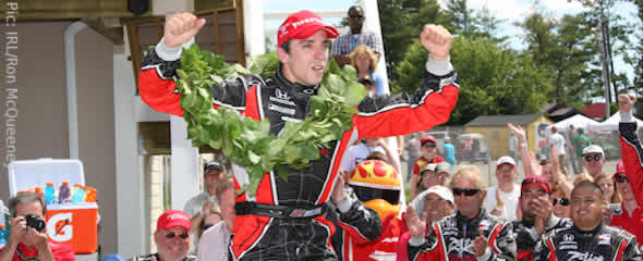 Justin Wilson celebrates a popular victory