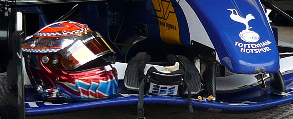 Tottenham driver Craig Dolby's helmet and car