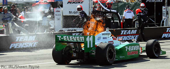 Race crew react as flames engulf Tony Kanaan