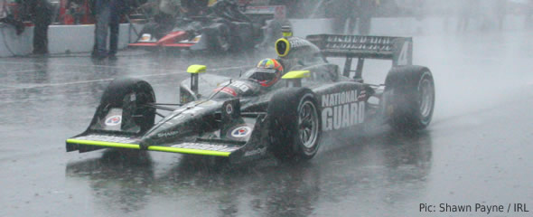 Dan Wheldon in the rain