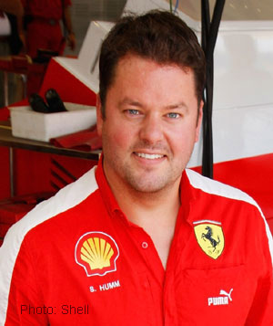 Shell&#039;s Stuart Humm in the Ferrari garage
