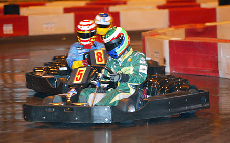 Drivers taking part in BP Ultimate Celebrity Karting Challenge