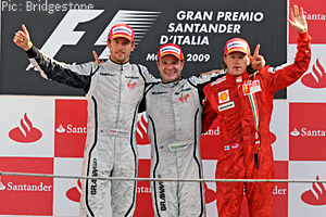 Barrichello, Button and a fortunate Raikkonen on the podium