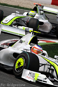 Barrichello and Button race in Spain