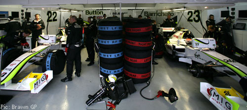 The Brawn GP garage at Interlagos