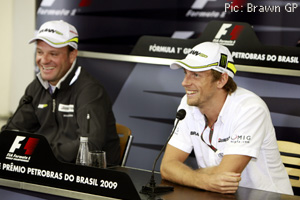 Button and Barrichello meet the press in Brazil