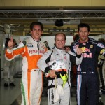 Top three in qualifying: Barrichello, Webber and Sutil