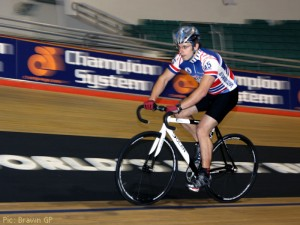 Peter Bonnington tackles the banking at the Manchester Velodrome