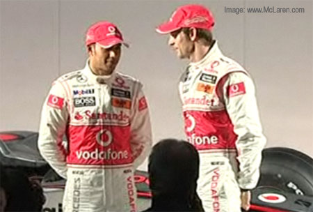 Button and Hamilton at the MP4-25 launch