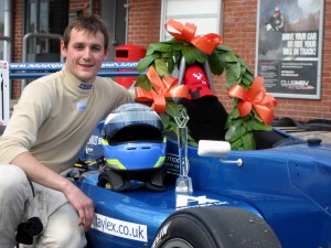 Kieren Clark with his Formula Renault BARC trophy