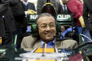 Tun Dr Mahathir in the Lotus Racing T127