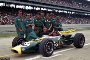 Jim Clark and the 1965 Indy500-winning crew and car