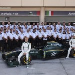 The Lotus Racing F1 drivers and crew