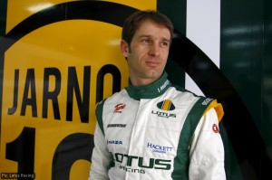 Jarno Trulli shows off the new-look Lotus F1 race gear
