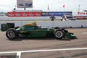 The Lotus-branded IndyCar on the streets of St Petersburg