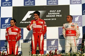 Alonso, Massa and Hamilton on the Bahrain podium