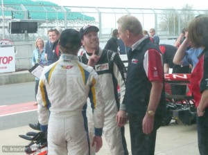 Jonathan Palmer congratulates the race two winners